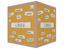 Concepto de la palabra de Corkboard del cubo de la universidad 3D Imagen de archivo libre de regalías