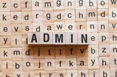 Concepto de la palabra del Admin imagenes de archivo