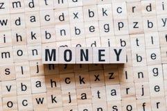 Concepto de la palabra del dinero imagen de archivo