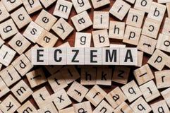 Concepto de la palabra del eczema imagen de archivo