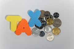 Concepto de la palabra del impuesto con la moneda en el fondo blanco imagen de archivo