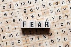 Concepto de la palabra del miedo foto de archivo libre de regalías