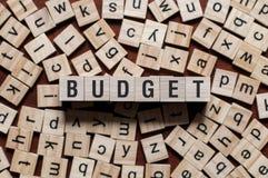 Concepto de la palabra del presupuesto imágenes de archivo libres de regalías