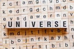 Concepto de la palabra del universo imagenes de archivo
