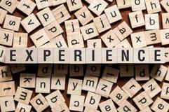 Concepto de la palabra de la experiencia imagen de archivo