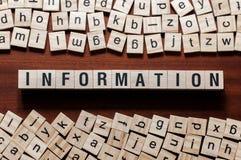 Concepto de la palabra de información en los cubos foto de archivo libre de regalías