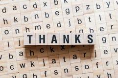 Concepto de la palabra de las gracias fotos de archivo
