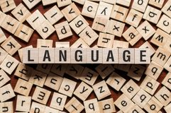 Concepto de la palabra de la lengua fotografía de archivo