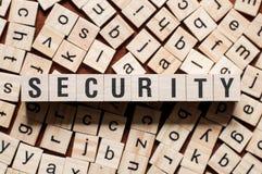 Concepto de la palabra de la seguridad fotos de archivo libres de regalías