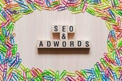 Concepto de la palabra de Seo y de Adwords imagen de archivo libre de regalías
