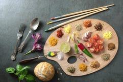 Concepto de la paleta de la comida de los pintores Foto de archivo