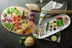 Concepto de la paleta de la comida de los pintores Fotos de archivo libres de regalías