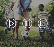 Concepto de la parada de la pausa del juego de las multimedias de los botones foto de archivo libre de regalías