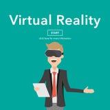 Concepto de la página web de Use Virtual Reality del hombre de negocios Foto de archivo libre de regalías