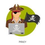 Concepto de la piratería con el icono del pirata Fotografía de archivo