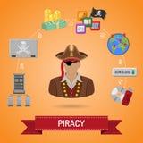Concepto de la piratería con el pirata Imagen de archivo