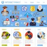 Concepto de la piratería de Internet Foto de archivo libre de regalías