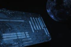 Concepto de la placa madre y del externo-espacio del ordenador imagenes de archivo