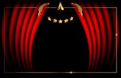 Concepto de la plantilla de Óscar, icono de oro del logotipo del marco de las estrellas del extracto del ejemplo del vector, conc libre illustration