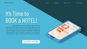 Concepto de la plantilla de la reservación de hotel stock de ilustración