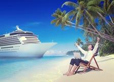 Concepto de la playa de Relaxation Vacation Outdoors del hombre de negocios Foto de archivo