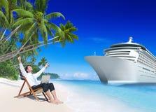 Concepto de la playa de Relaxation Vacation Outdoors del hombre de negocios Imágenes de archivo libres de regalías