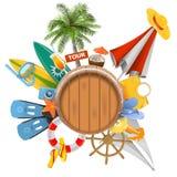 Concepto de la playa del vector con el barril Foto de archivo libre de regalías