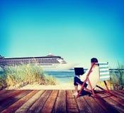Concepto de la playa del viaje de Holiday Working Business del hombre de negocios Foto de archivo
