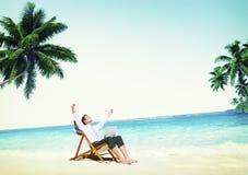 Concepto de la playa del viaje de Holiday Working Business del hombre de negocios Imagen de archivo