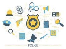 Concepto de la policía Idea del trabajo del guardia Ley ilustración del vector