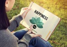 Concepto de la positividad de la relajación de la reconstrucción del disfrute de la felicidad Foto de archivo