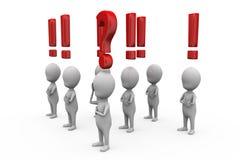 concepto de la pregunta del hombre 3d y de la marca de exclamación Imagen de archivo