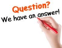 Concepto de la pregunta y de la respuesta Imágenes de archivo libres de regalías