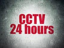 Concepto de la privacidad: CCTV 24 horas en el papel de Digitaces Imagenes de archivo