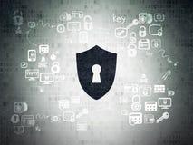 Concepto de la privacidad: Escudo con el ojo de la cerradura en Digitaces Foto de archivo