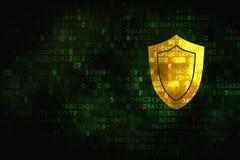 Concepto de la privacidad: Escudo en fondo digital