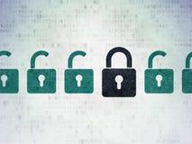 Concepto de la privacidad: icono cerrado negro del candado encendido Fotografía de archivo libre de regalías