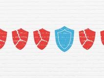 Concepto de la privacidad: icono del escudo en fondo de la pared Imagen de archivo libre de regalías