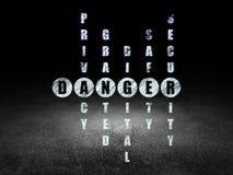 Concepto de la privacidad: peligro de la palabra en solucionar el crucigrama Foto de archivo libre de regalías