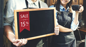 Concepto de la promoción del descuento del trato del comercio de la venta imagen de archivo