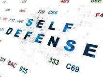 Concepto de la protección: Autodefensa en Digitaces Fotos de archivo