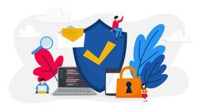 Concepto de la protección de datos Acceso a la información stock de ilustración
