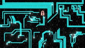 Concepto de la protección de datos con el candado electrónico ilustración del vector