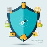 Concepto de la protección de datos Foto de archivo libre de regalías