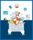 Concepto de la protección de datos Estrategia, gestión del proyecto y desarrollo de planificación, financieros Foto de archivo
