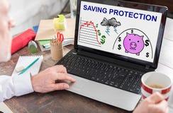 Concepto de la protección del ahorro en una pantalla del ordenador portátil foto de archivo