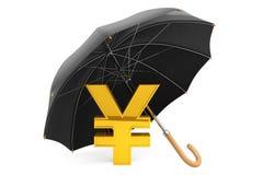 Concepto de la protección del dinero. Yen Sign de oro debajo del paraguas Fotografía de archivo