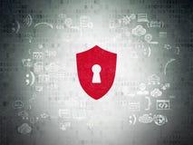 Concepto de la protección: Escudo con el ojo de la cerradura en digital Imagen de archivo