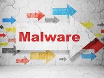 Concepto de la protección: flecha con Malware en grunge Fotos de archivo libres de regalías
