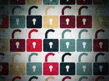 Concepto de la protección: Iconos abiertos del candado encendido Fotos de archivo libres de regalías